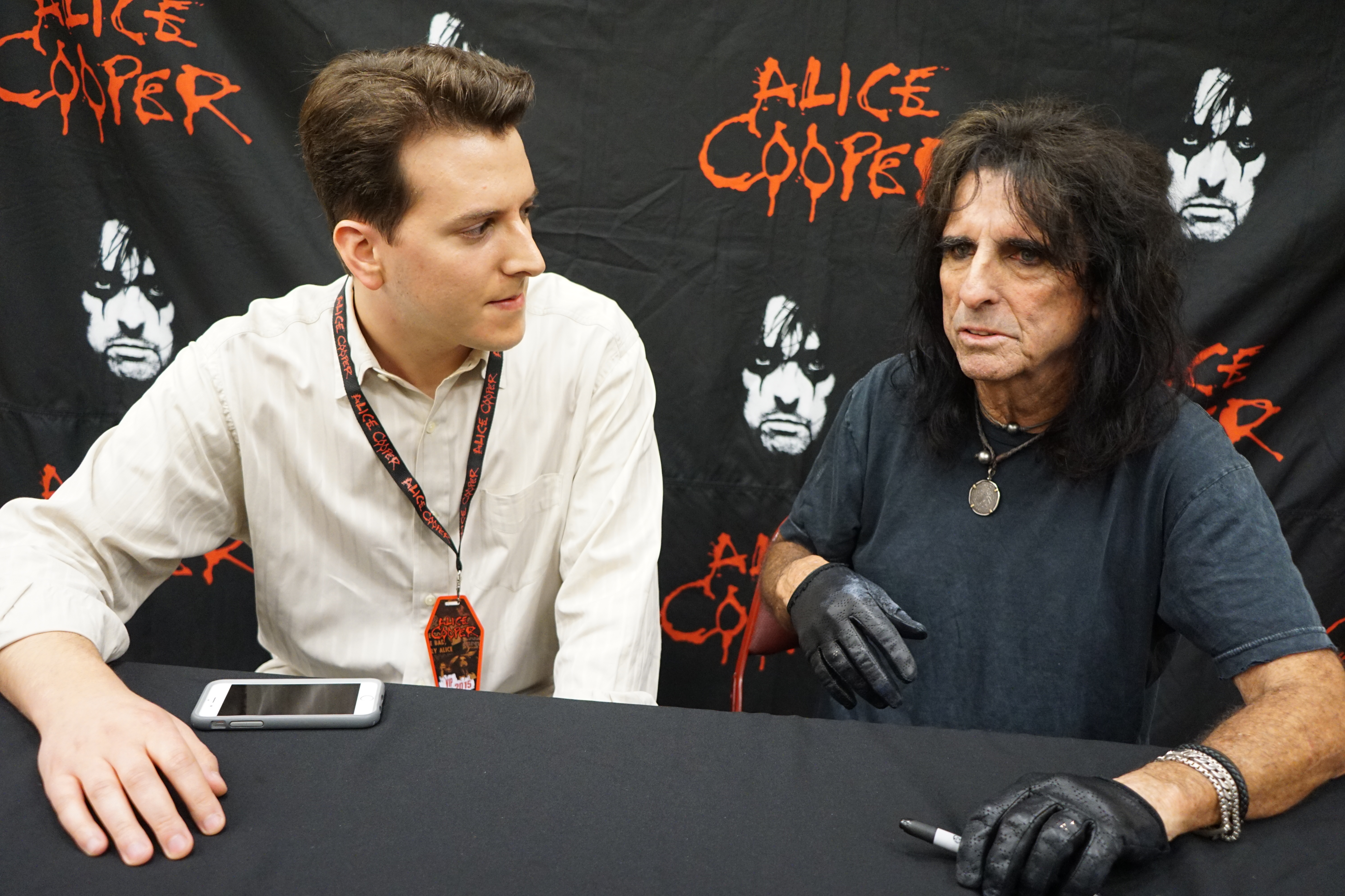 Interviewing Alice Cooper backstage after a show.