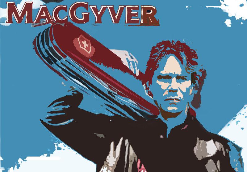 MacGyver klarar det mesta, bl.a. med hjälp av sin schweizerkniv.