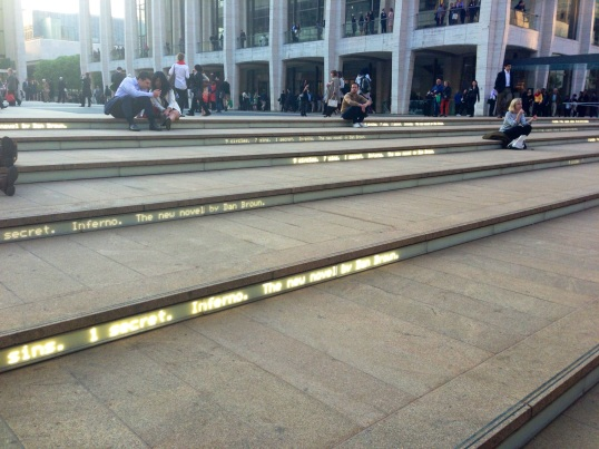 The Lincoln Center steps were used to promote Dan Brown's new novel.