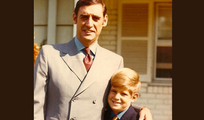 Harlan Coben at 7, with his father, Carl Gerald Coben, 40, in 1969.