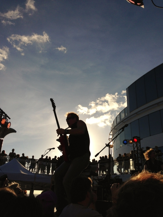 Night Ranger's lead guitarist, Brad Gillis, rocking out on KISS Kruise III.