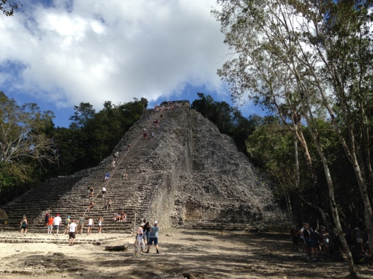 We climbed a massive ruin in Coba - I did it on all fours to avoid falling because it was so steep.