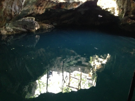 And here's the cenote, which featured sea turtles and bats.