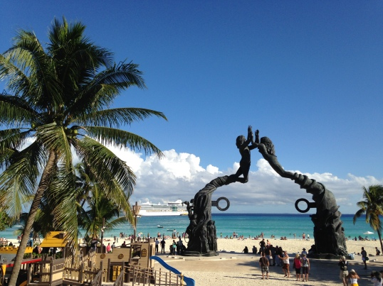 Here's a view of the beach from 5th Avenue in downtown Playa del Carmen.