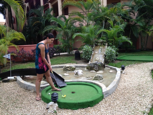 There was also a mini-golf course that we took advantage of. While I lost to my girlfriend multiple times while playing air hockey in the game room, I won at this activity.