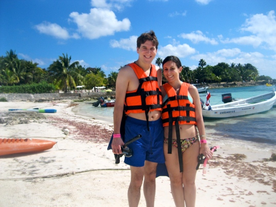 Here we are getting ready to snorkel for the first time.