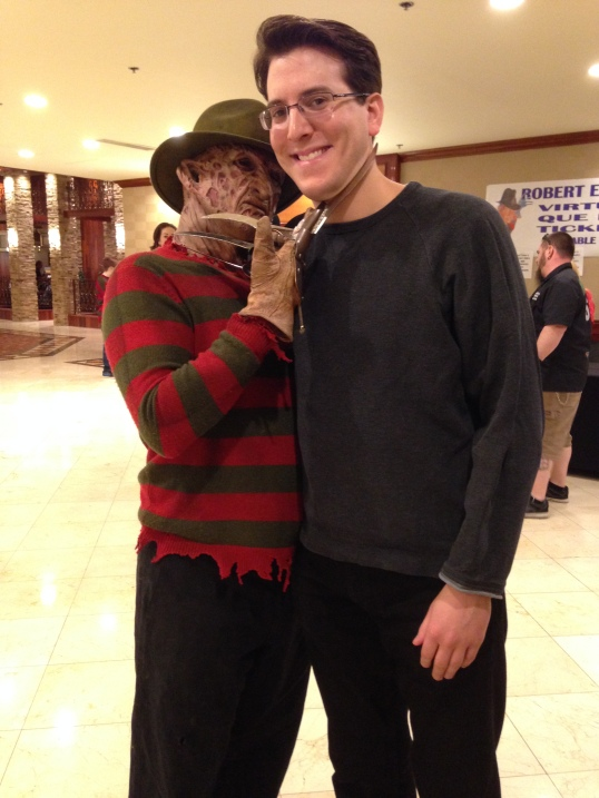 Spending time with a Freddy look-a-like before meeting the real deal.