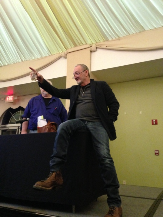 Robert Englund speaking with fans after his Q&A.