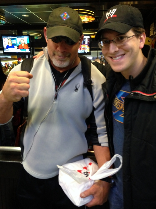 Meeting Bill Goldberg at the Dallas Airport on my way to WrestleMania XXX.