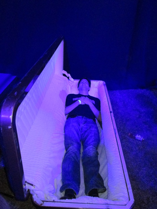 Me in a casket in the Undertaker's Graveyard at WrestleMania Axxess.