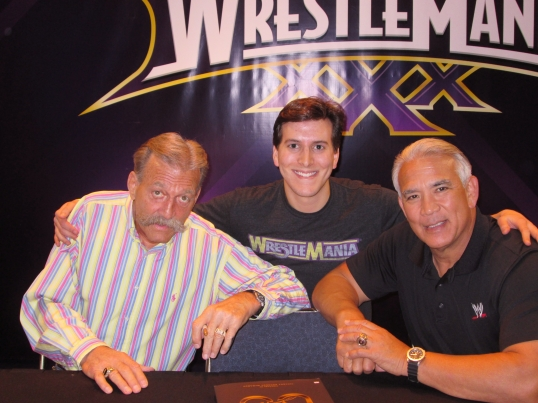 Meeting WWE Hall of Famers Paul Orndorff (left) and Ricky Steamboat (right).