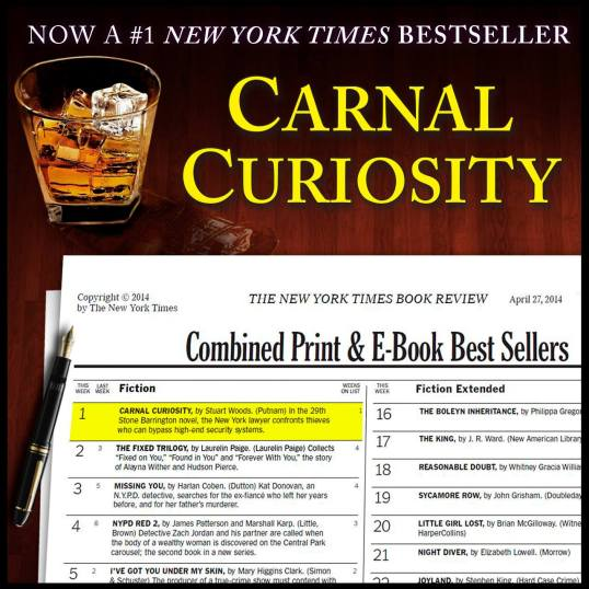Carnal Curiosity by Stuart Woods debuted at #1 on The New York Times Best Sellers list.