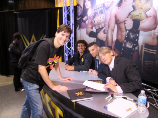 Meeting NXT Superstars and one of the greatest technical wrestlers of all time, William Regal (far right).