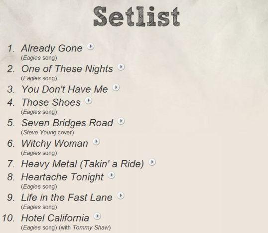 Don Felder's setlist.