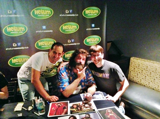 My friend Brian (left) and I meeting Mick Foley after his June 18, 2014 show at Helium Comedy Club in Philadelphia.