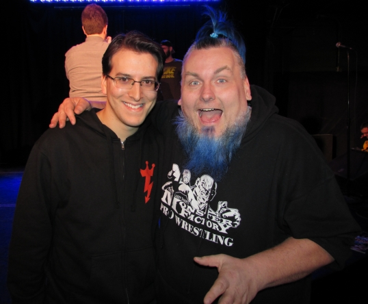 With ECW icon The Blue Meanie.