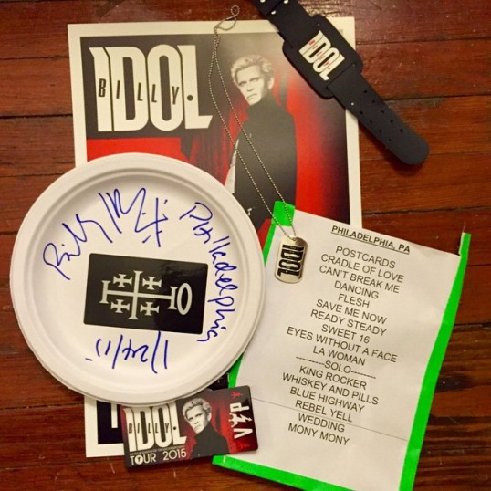 I left the Billy Idol show with an autographed item, a setlist and some VIP merch.