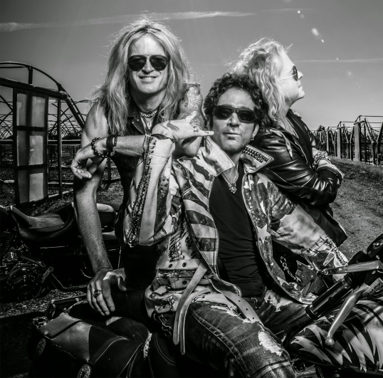 Revolution Saints: Doug Aldrich (left), Deen Castronovo (center) and Jack Blades (right).