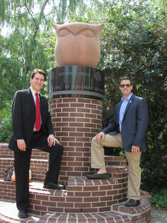 With my cousin, Chris, and the Temple owl before graduation.
