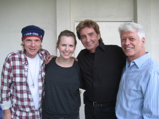 Michael Lloyd, Nataly Dawn, Barry Manilow and Enoch Anderson outside the studio.